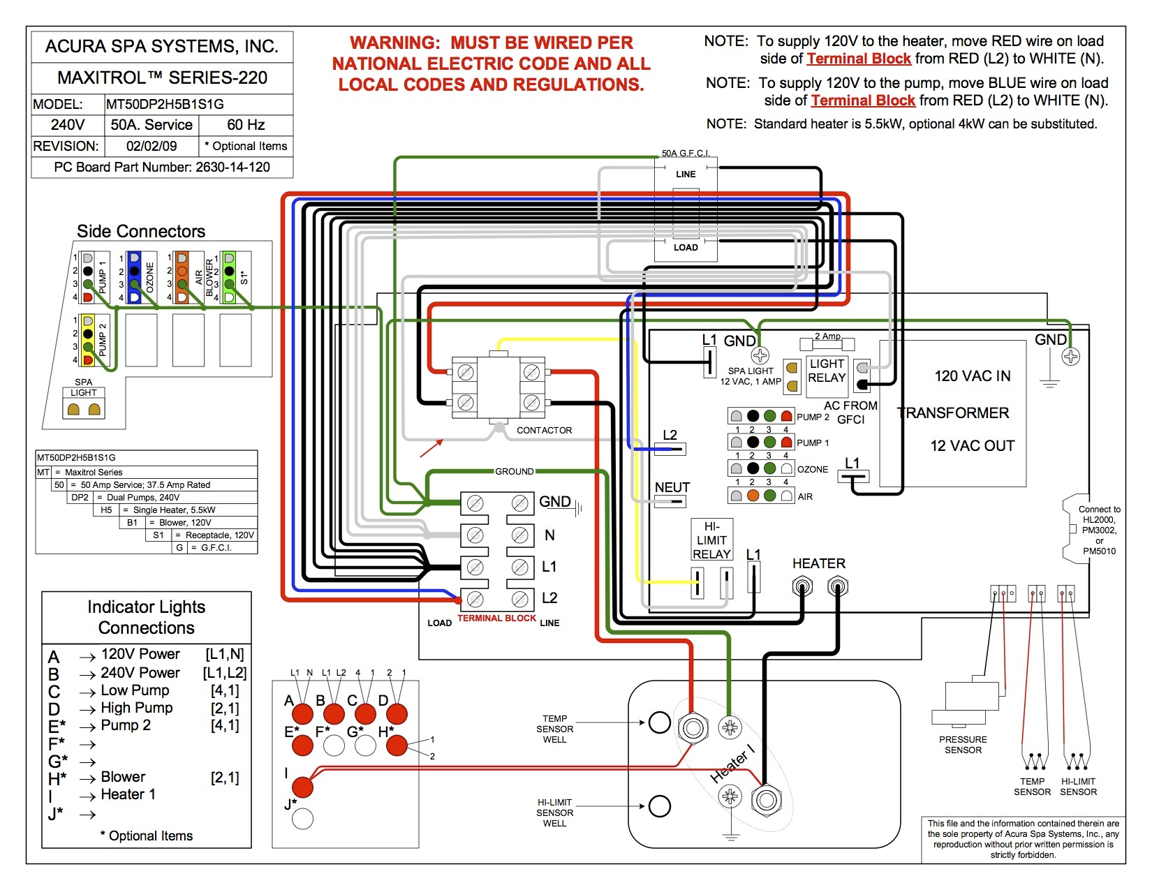 Cove Spa Wiring Diagram